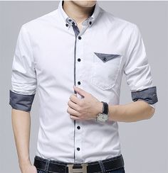 Mens Button Down Shirt with Flip Pocket – Men's style, accessories, mens fashion trends 2020 Best Casual Shirts, Formal Shirts For Men, Gents Shirt Design, Gents Shirts, Boys Shirts, Blazer Outfits Men, Mens Designer Shirts, Mens Attire, Mens Clothing Styles