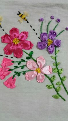 The pattern is great but i would prefer to use pink n blue separately and either of them at a time – Artofit Simple Hand Embroidery Patterns, Ribbon Embroidery Tutorial, Hand Embroidery Flowers, Silk Ribbon Embroidery, Crewel Embroidery, Ribbon Art, Ribbon Crafts, Bordado Floral, Cloth Flowers