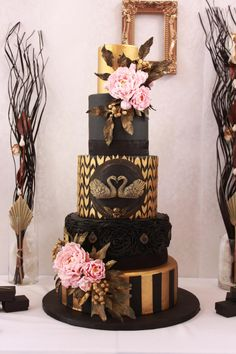 Black Swan Wedding Cake by Delicut Cakes - http://cakesdecor.com/cakes/218491-black-swan-wedding-cake