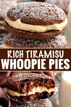 These whoopie pies are packed with classic Italian dessert flavors. Soft and … These whoopie pies are packed with classic Italian dessert flavors. Soft and fluffy chocolate espresso cookies, sandwiched with a rich mascarpone kahlua frosting! Dessert Simple, Food Cakes, Cupcake Cakes, Cupcakes, Köstliche Desserts, Dessert Recipes, Recipes Dinner, Pasta Recipes, Crockpot Recipes