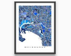 Melbourne Australia / Melbourne Map Poster / Digital Map Art Print
