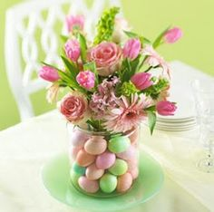 Flower display with eggs