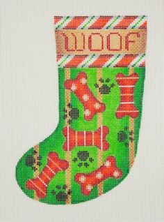 click here to view larger image of Christmas Mini-Sock / WOOF / Dog Bones / Candy Cane  (hand painted canvases)