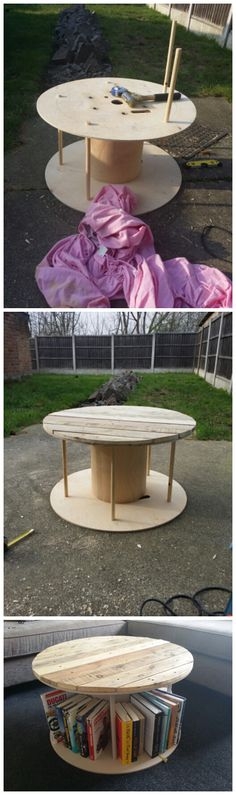 DIY cable reel coffee table with pallet slat top