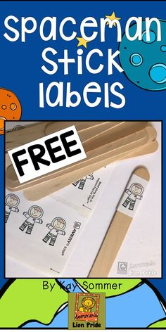 Make your own Spaceman Sticks with these free printable labels and jumbo craft sticks! Perfect for your students who are learning to write! It helps them put spaces between words! First Grade Writing, Pre Writing, Teaching Writing, Sentence Writing, Writing Centers, Writing Ideas, Writing Sentences, Writing Journals, Writing Strategies