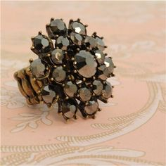 Hematite Crystal Cluster Stretch Ring in Brass