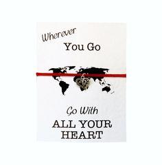 Friendship Bracelet: Heart Travel Charm Bracelet. Personalised Cute Best Friend Bracelet. Go With Heart! Travel Bracelet. BFF Bracelet! by PetitePolly on Etsy