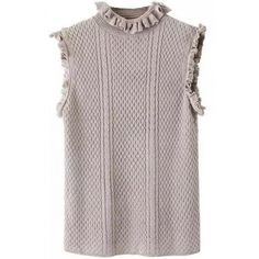LUCLUC Grey Street All-match Sleeveless Jumper (84 RON) ❤ liked on Polyvore featuring tops, sweaters, grey sleeveless top, grey jumper, grey top, gray top and gray sleeveless top