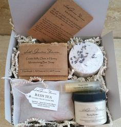Great for any occasion, our gift set comes boxed, bowed, and tagged as seen in 3rd photo ready to be gifted. Bath Tea, bath bomb, and body