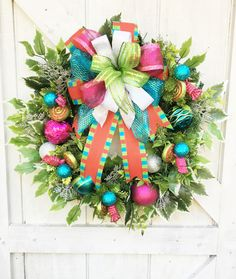 Show your love of retro Christmas colors with this fun Whimsical Christmas Wreath for Front Door! It's sure to bring back memories and catch the eye of all your family and friends! Outdoor Christmas Wreaths, Outside Christmas Decorations, Diy Christmas Garland, Christmas Wreaths For Front Door, Whimsical Christmas, Outdoor Christmas Decorations, Retro Christmas, Christmas Colors, Holiday Wreaths