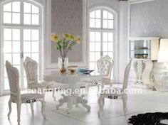 neoclassic round dining table/ palace royal dining room furniture/ high-end luxury dining room furniture