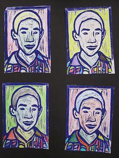 Mrs. Wille's Art Room: Self-portrait relief prints