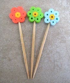 Perler Bead Flower Picks ~ great for lunches!