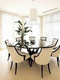 68 Awesome Round Dinning Table Design Ideas - Page 65 of 70 Round Dinning Room Table, Dinning Table Design, Elegant Dining Room, Luxury Dining Room, Glass Dining Table, Small Dining, Dinning Table Decorations, Luxury Dining Tables, Dinning Set