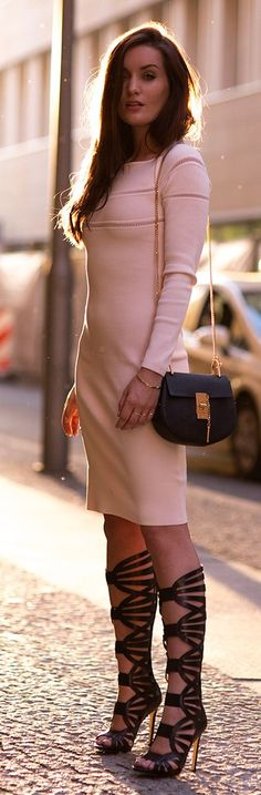 Gladiator Boots And Pink Dress Streetstyle women fashion outfit clothing style apparel @roressclothes closet ideas