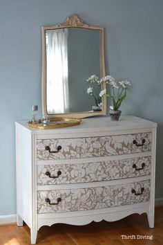 via Country Living Magazine: Before and After Stenciled Upcycled Dresser - This Simple Tool Is the Key to Giving Any Piece of Furniture a Dramatic Makeover (Furniture Stencils by Royal Design Studio)