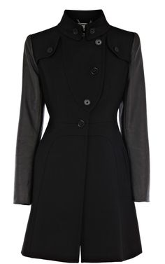 Coats  Jackets | Black Full skirted coat | KarenMillen Stores Limited