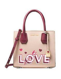 9ac25ff77d Michael Michael Kors Mercer Medium Love Crossbody Leather Satchel