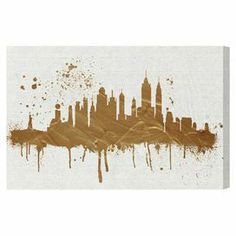 Bring cosmopolitan flair to your living room or den with this chic canvas print, showcasing a silhouette of the New York City skyline in gold. $87 Product: Canvas printConstruction Material: Fine art canvas and FSC-certified woodFeatures:  Limited open edition with certificate of authenticity by the artist Made in the USAArrives ready to hang with all hardware included  Hand-stretched and gallery-wrapped Cleaning and Care: Dust lightly using a soft, clean, lint-free cotton cloth