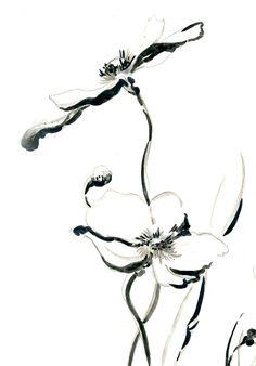 Art floral minimaliste dimpression tirage dart de dessin de