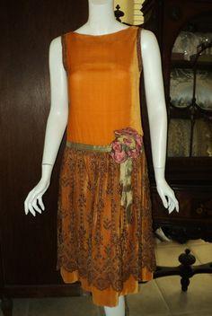 1920s Silk Velvet Dress with Embroidered Tulle Metallic Lame Sash  Art Deco Ribbonwork Period Wedding Party