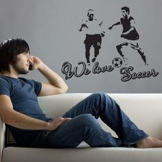 "Style and Apply We Love Soccer Wall Decal Size: 24"" H x 31"" W, Color: Dark Gray"