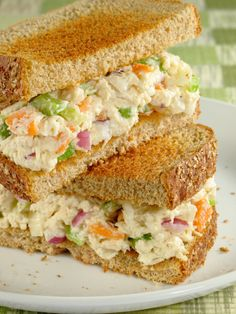 Grandma's Kitchen Chicken Salad ~ This chicken salad sandwich is made from scratch. You cook the chicken first in a tasty marinade, let it cool overnight, then assemble these tasty sandwiches. The recipe makes 10 sandwiches, so great for a larger group. Salad Sandwich, Soup And Sandwich, Sandwich Recipes, Chicken Sandwich, Delicious Sandwiches, Wrap Sandwiches, Chicken Salad Recipes, Salad Chicken, Canned Chicken