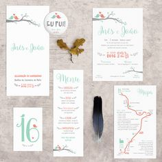 """Stationary """"Love Birds"""" in shades of coral and mint for Inês and João's wedding: invitations, maps, table markers, seating plan, menus, trifolded mass booklets, pins and posters. #beapaper #weddingstationary #beapaperdesign #tablemarkers #casamento #marcadoresdemesa #seatingplan #placarddemesas #ementas #menus #posters #gifts #missais"""