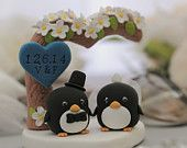 Custom Wedding Cake Topper -Handmade lovely Penguins with love flower tree