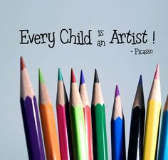 Every child is an artist – Wall Decal – Picasso quote – great for art classroom – removable vinyl - Modern