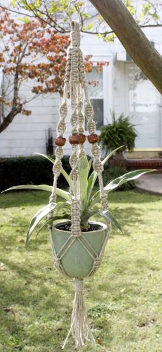Hemp Macrame Plant Hanger Nutella Natural by Macramaking on Etsy, $17.00