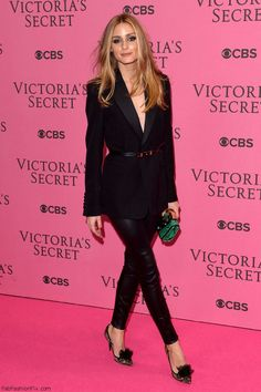 Olivia Palermo wearing Yves Saint Laurent custom-made black blazer combined with black leather pants at at the Victoria`s Secret after-party in London, on 2nd December 2014.  #oliviapalermo