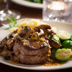 Steaks with Tarragon Mushrooms and Shallot Vermouth Reduction Sauce