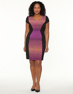 Sexy sheath dress turns heads with a brightly-printed panel that's contoured to accentuate your curves. Office or evening-ready style is stunning in any setting, with a scoop neck, cap sleeves and seamed waist to define the silhouette. Hidden side zipper with hook & eye closure. Fully lined. lanebryant.com