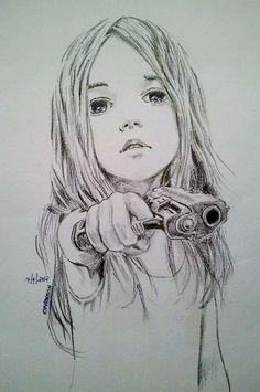 black, drawing, girl, guns, painting, white