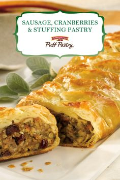 Pepperidge Farm Puff Pastry Sausage, Cranberries & Stuffing Pastry Recipe. Serve something extra special for Thanksgiving this year. Forget the mess of stuffing the bird and wrap your stuffing in light and flaky Puff Pastry crust instead.  Braid Puff Pastry around a comforting mixture of Pepperidge Farm® Herb Seasoned Stuffing, sausage, green onions, mushrooms and dried cranberries. Then bake until golden to make a festive and delicious dish.