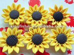 Fashion Jewelry Sunflower shape polymer clay flowers!! Loose beautiful clay polymer flowers!! Stocking ok!! !! Paypal!! !!
