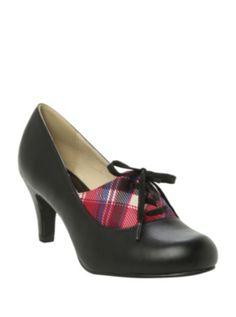 T.U.K. Black With Plaid Lace-Up Heel size 10
