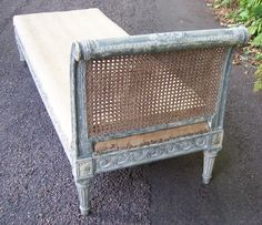 Antique Painted Daybed, Louis XVI style, made in the 19th Century, NOW SOLD, see http://www.domani-devon.com/stock/furniture/19th-c-louis-xvi-style-painted-daybed
