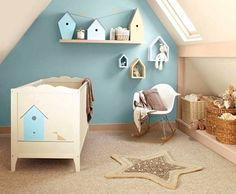 dormitorio de bebe en celeste moderno Dormitorio para bebé en celeste y beige