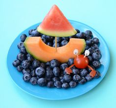 Cantaloupe and Watermelon Sailboat in a Blueberry Sea