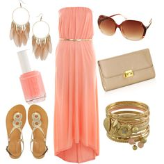 Coral dress and gold accessories