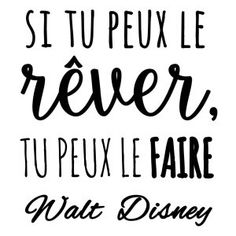 Sticker mural Walt Disney Noir 50 x 60 cm Positive Mind, Positive Attitude, Positive Vibes, Words Quotes, Sayings, French Quotes, Visual Statements, Disney Quotes, Cool Words