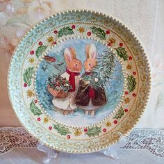 """Новогодняя тарелка """"Зайки""""."""