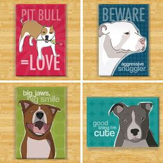 Pit Bull Gifts Set of 4 Fridge Magnets - Funny Pitbull Dog Magnets Gift Pack I Love Dogs, Puppy Love, Dog Milk, Dog Shaming, Pit Bull Love, Dog Art, Dog Gifts, Fur Babies, Dog Breeds