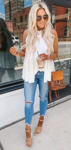 white sleeveless shirt and blue denim pants #summer #outfits
