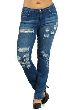 Medium Blue 5 Pocket Distressed Straight Leg Jeans