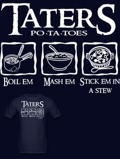 Much Needed Merch | Taters Po-ta-toes Womens T (a website with loads of awesome geeky clothes and accessories! )