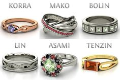 The Legend of Korra rings... :O I love Korra's. And Tenzin's. And Bolin's. And all of them. Someone? Anyone? Want!