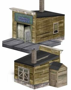This very well done paper model  of the Lucky & Knotts Mine Supply building is offered by Clever Models website.  Perfect for Train Sets, ...